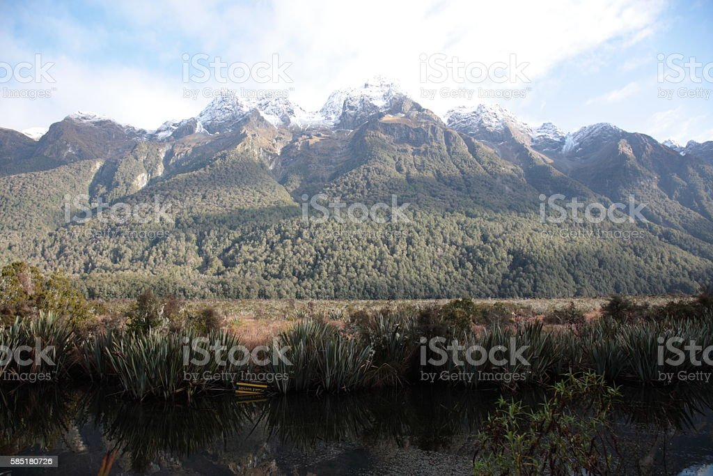 Mirror lakes in Fiordland National park, New Zealand stock photo