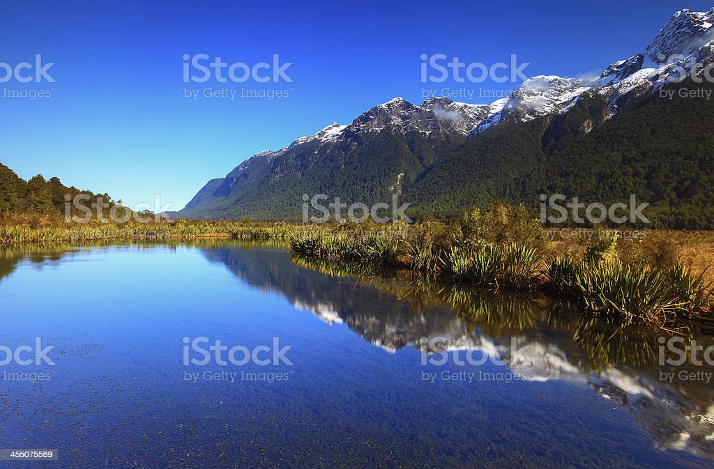 Mirror Lakes, South Island, New Zealand stock photo