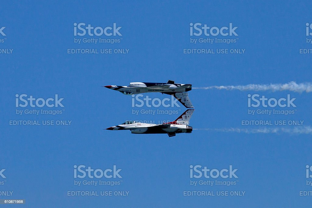 Mirror pass fly-by done by two US Air Force Thunderbirds stock photo