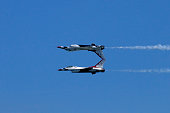 Mirror pass fly-by done by two US Air Force Thunderbirds