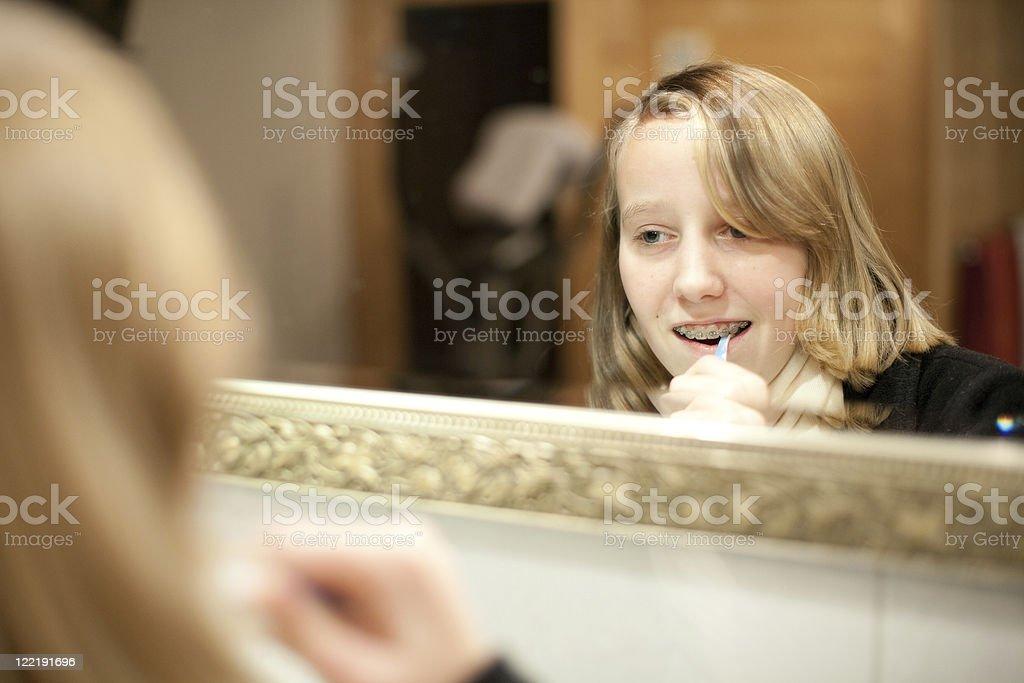 Mirror Portraits - Brushing Teeth royalty-free stock photo