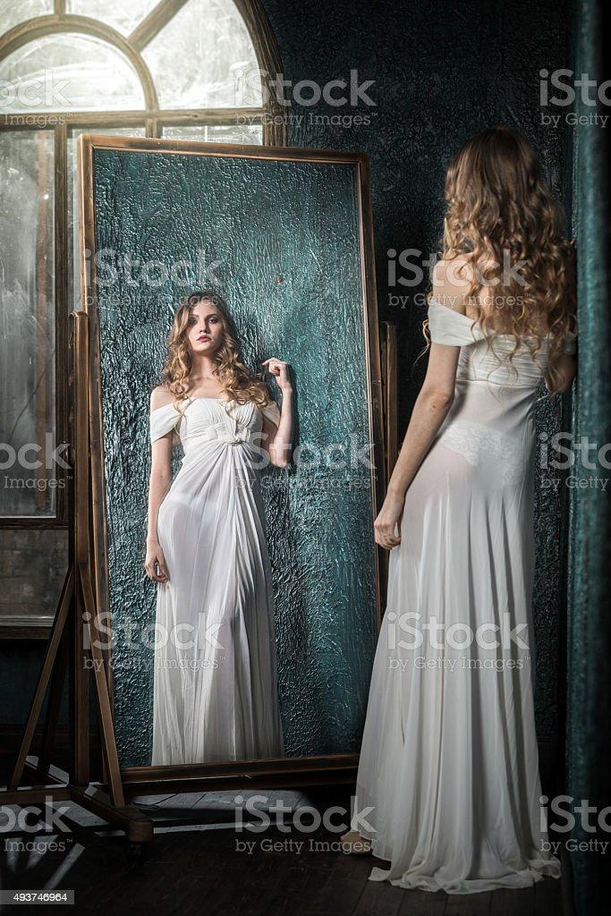 Mirror Reflection Of Beautiful Girl stock photo