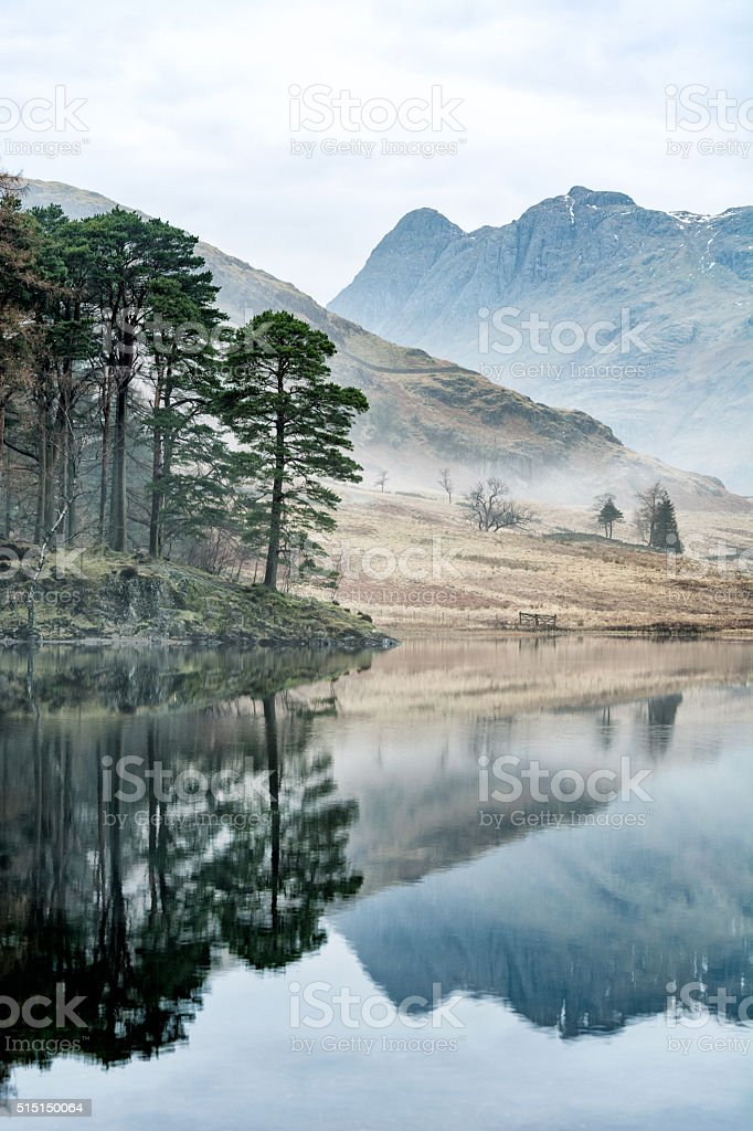 Mirror Reflections With Trees And Misty Mountains. stock photo