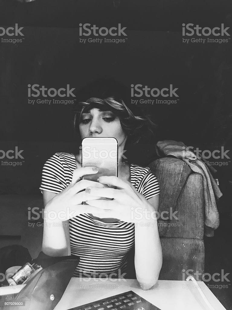 Mirror selfie stock photo