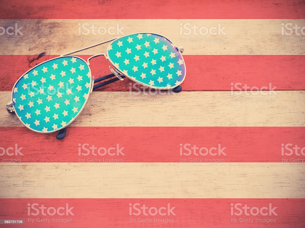 mirror sunglasses as American flag pattern stock photo