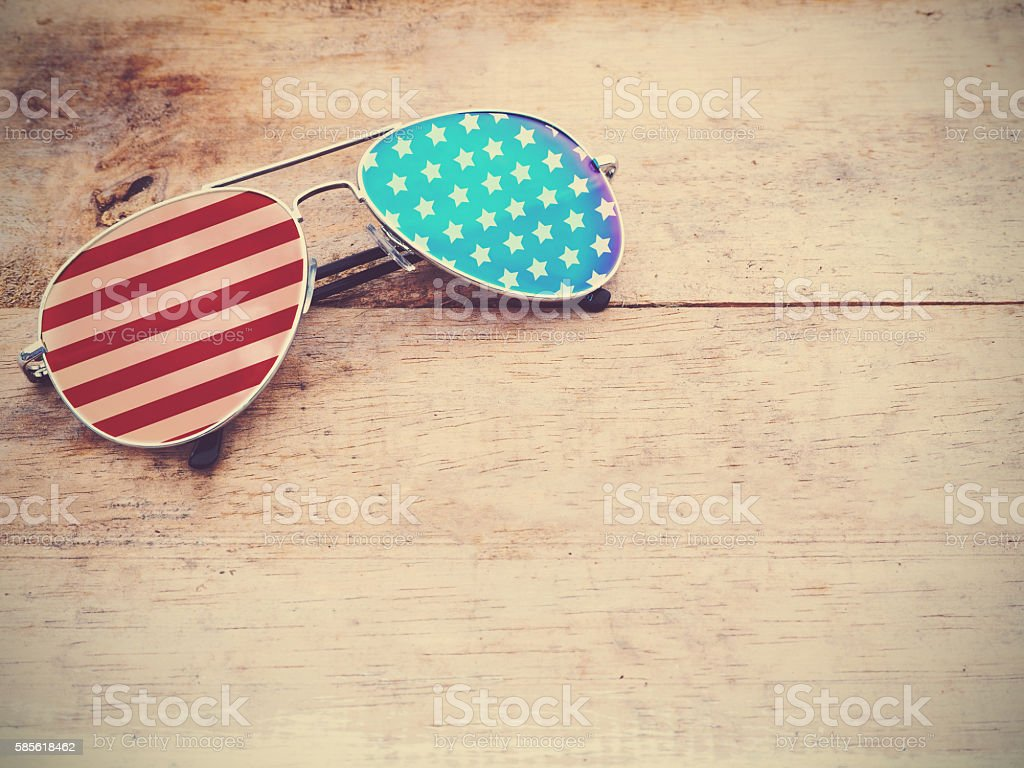 mirror sunglasses with american flag pattern stock photo