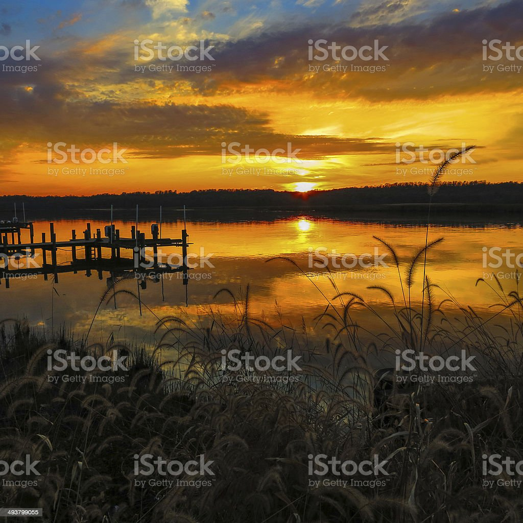 Mirror Sunset on the Patuxent River at Lower Marlboro stock photo