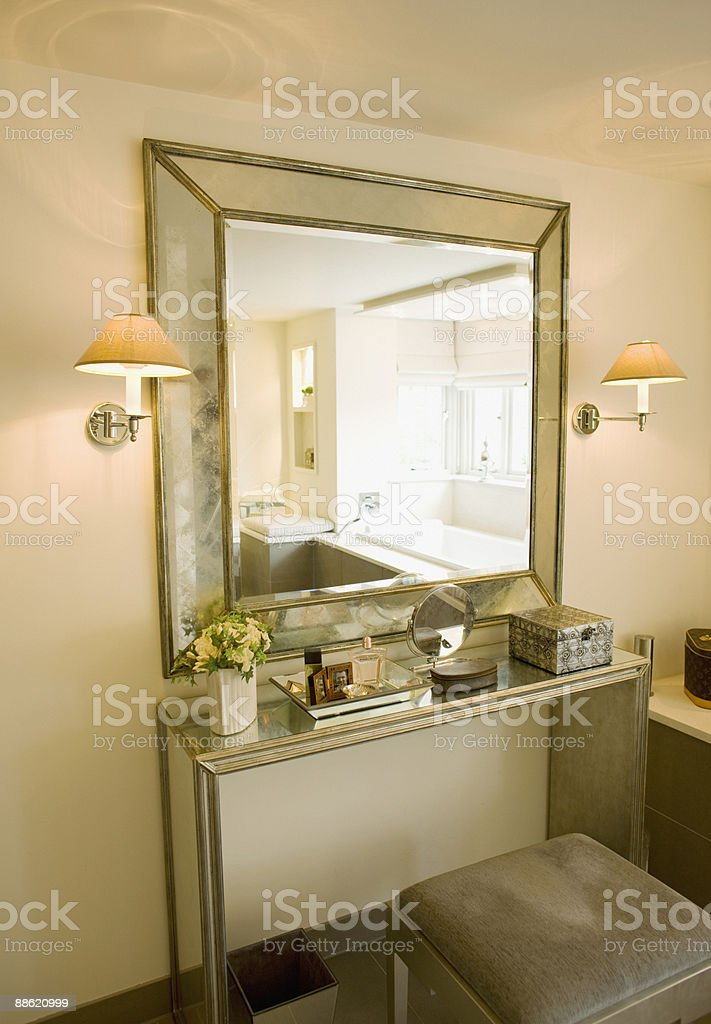 Mirror, vanity table and stool stock photo