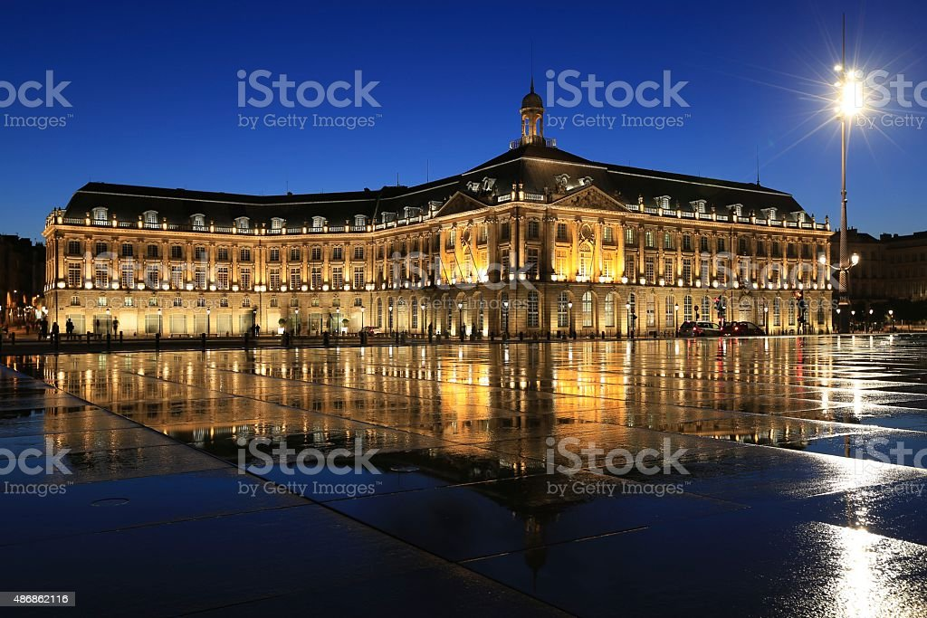 Mirror water, Bordeaux stock photo