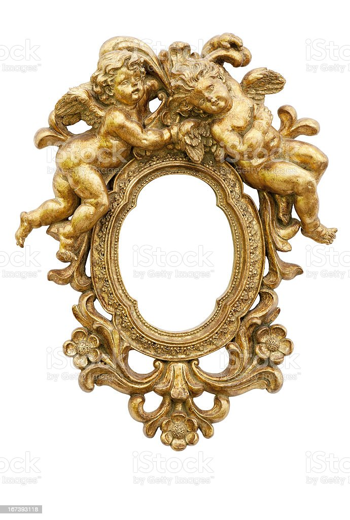 Mirror with angels stock photo