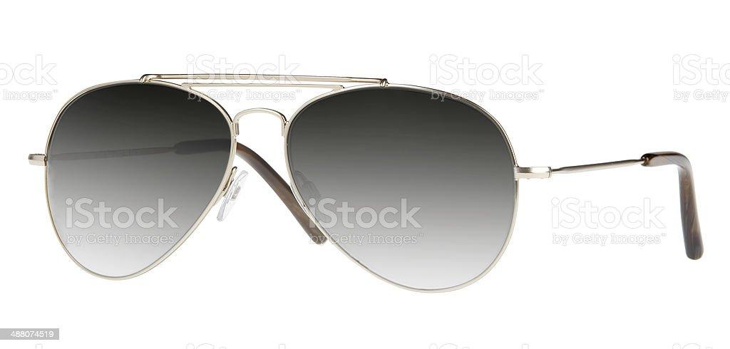 Mirrored aviator sunglasses isolated on white stock photo