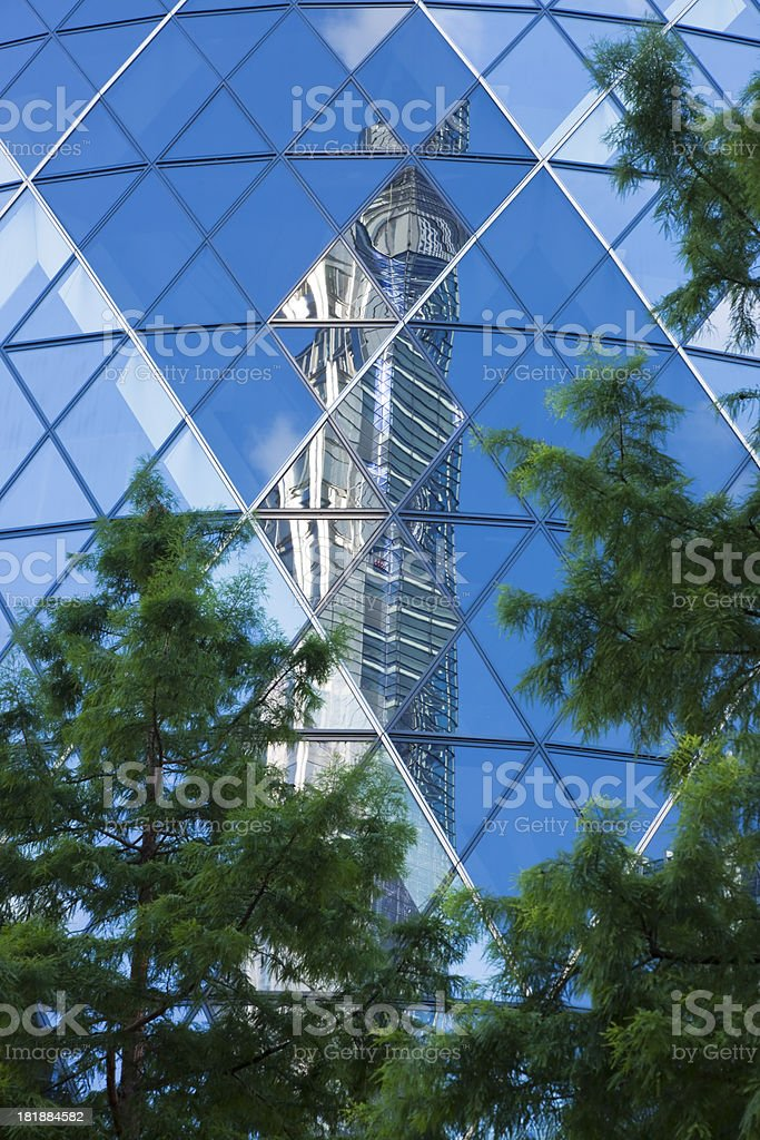 Mirrored Business Tower Surrounded by Trees, London, England royalty-free stock photo