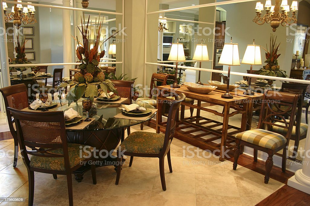 Mirrored Dining Room royalty-free stock photo