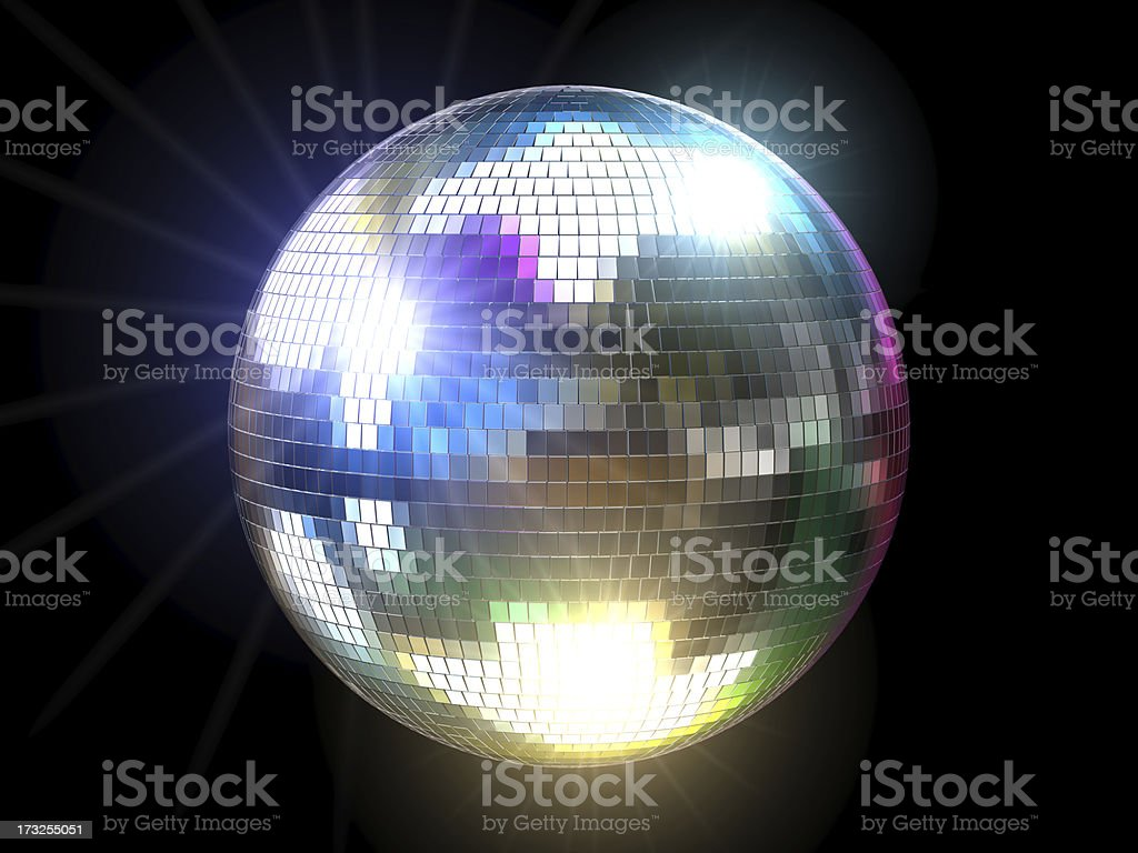 Mirrored disco ball reflecting colored lights stock photo