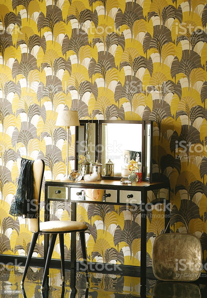 Mirrored dressing table in bright sunlight stock photo