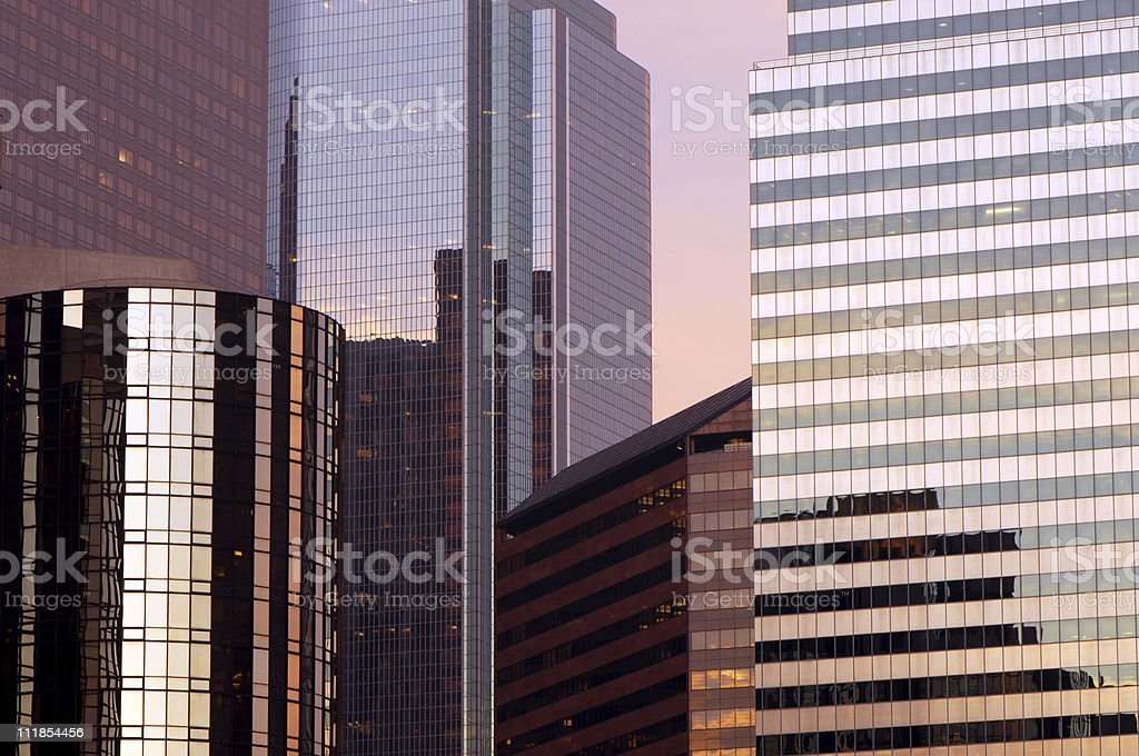 Mirrored Glass Skyscrapers Reflecting Pink Sunset Los Angeles California royalty-free stock photo
