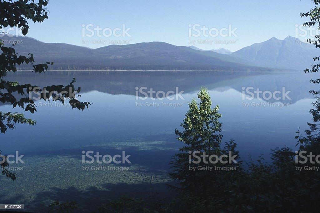 mirrored McDonald Lake stock photo