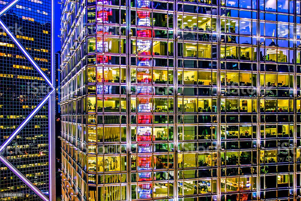 Mirrored modern building in hong kong stock photo
