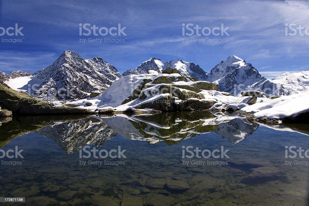 Mirrored mountains stock photo