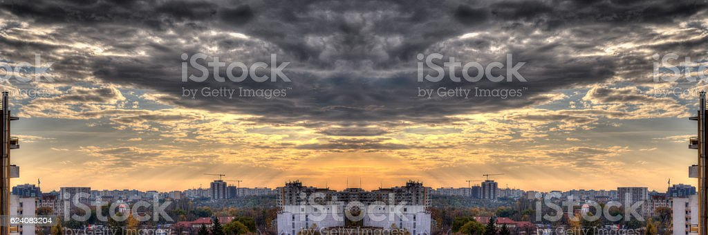 Mirrored Panoramic View of Bucharest - HDR stock photo