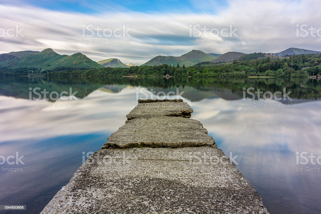 Mirrored Reflections In Derwentwater Lake, Lake District, UK. stock photo