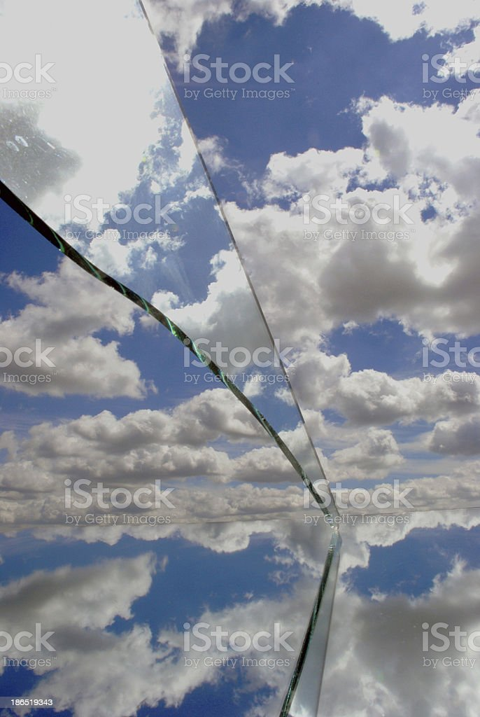 mirrors objects reflections and sky clouds royalty-free stock photo