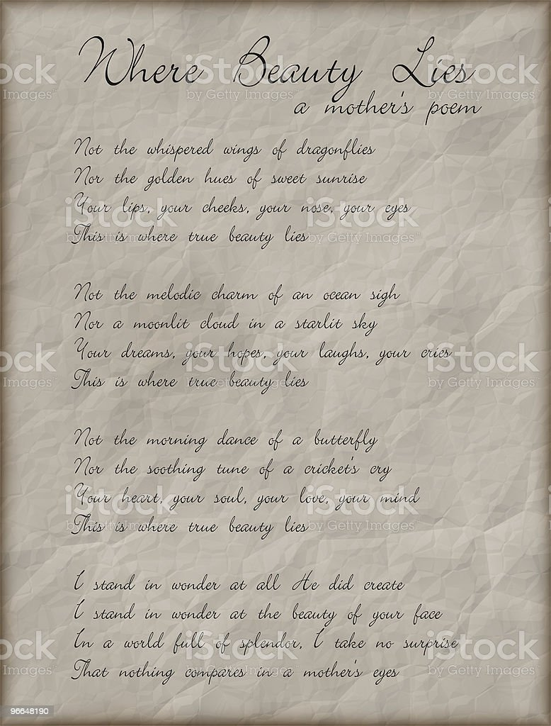 Misc: Love Poem from Mother to Child stock photo