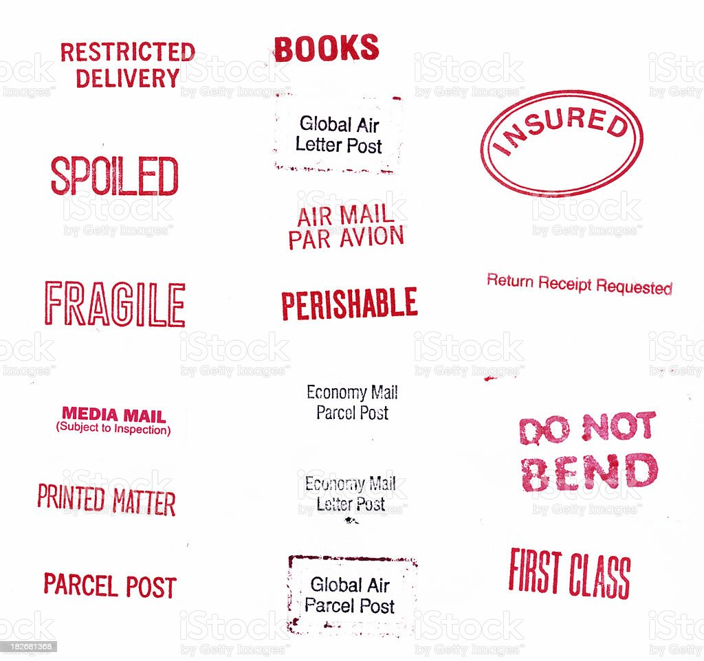 Misc. Package/Parcel Stamps royalty-free stock photo