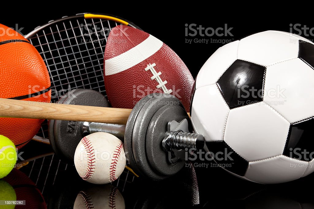 Miscellaneous sports equipment with black background stock photo