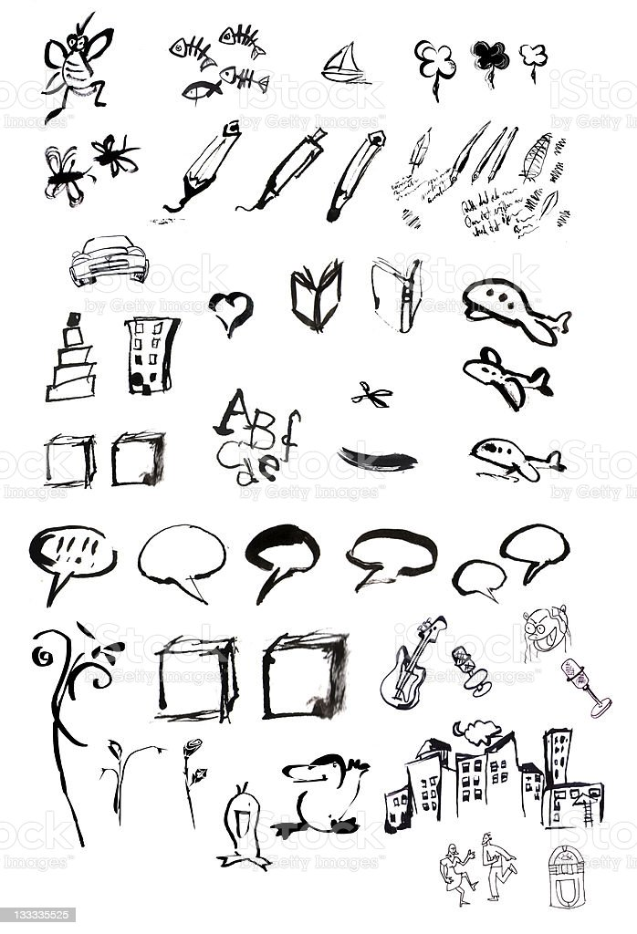 miscellaneous unique icons and illustrations stock photo
