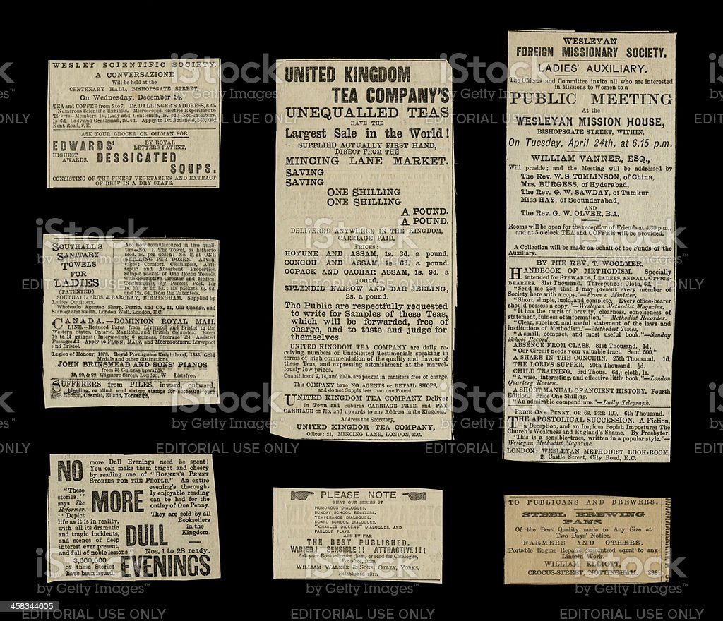 Miscellaneous Victorian small ads from 1887 stock photo