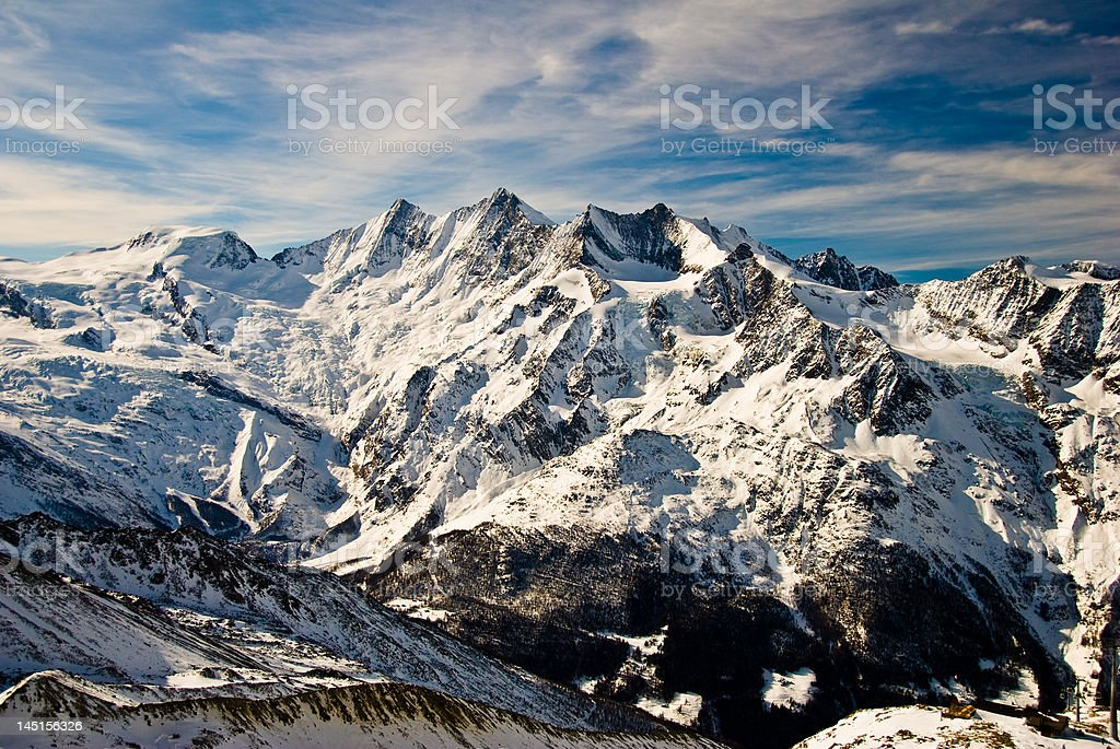 Mischabel mountain range above Saas Fee. stock photo