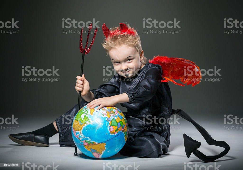 Mischievous little demon royalty-free stock photo