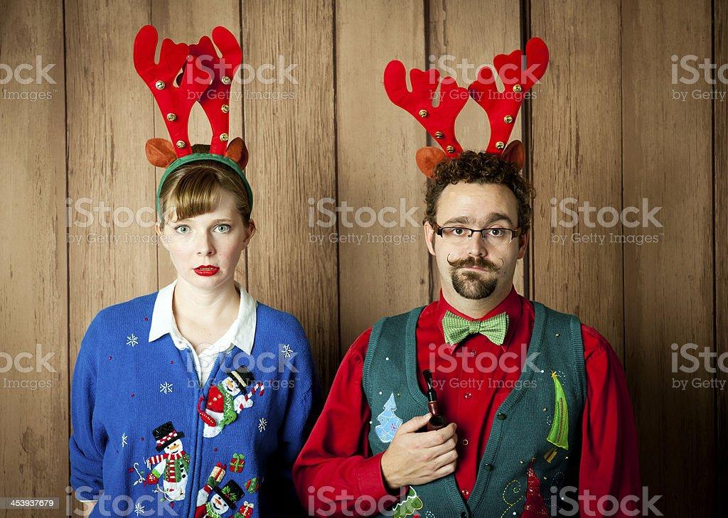 Miserable Christmas Portrait stock photo