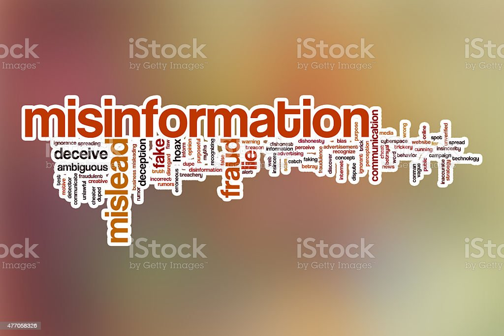 Misinformation word cloud with abstract background stock photo