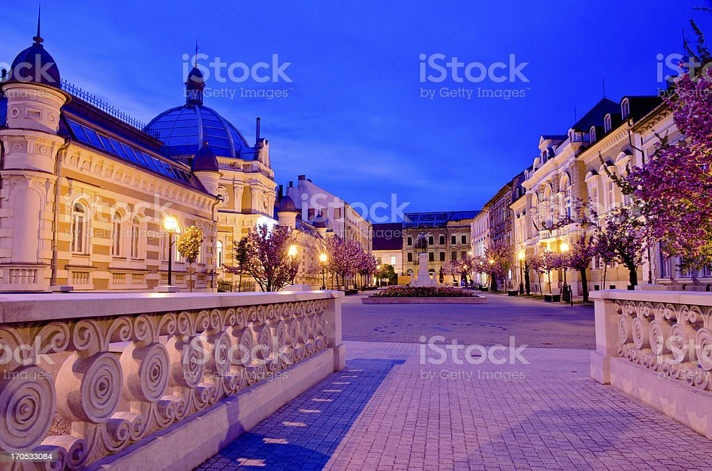 Miskolc  Old Town view in night stock photo