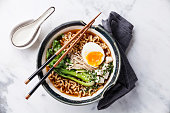 Miso Ramen Asian noodles with egg, enoki and pak choi