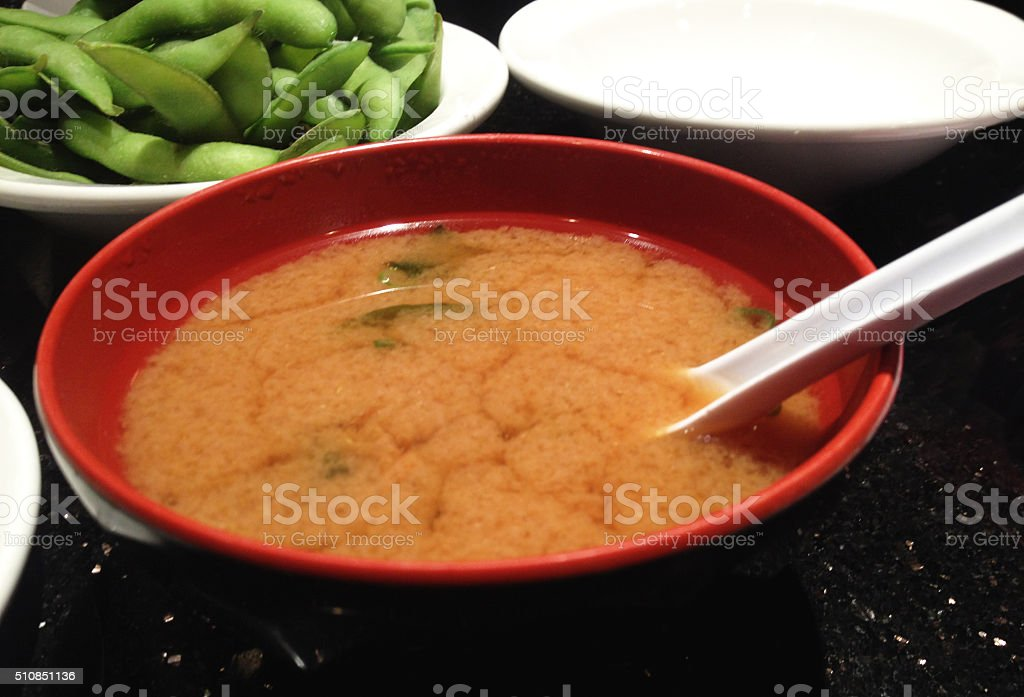 Miso Soup Bowl Japanese Asian Cuisine Restaurant Healthy Food stock photo