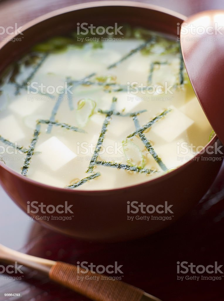 Miso Soup Cup and Wooden Spoon stock photo