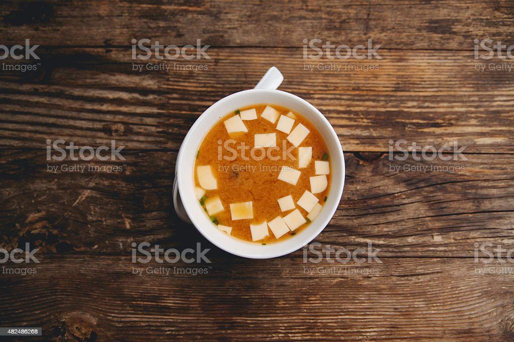 Miso soup on the table stock photo