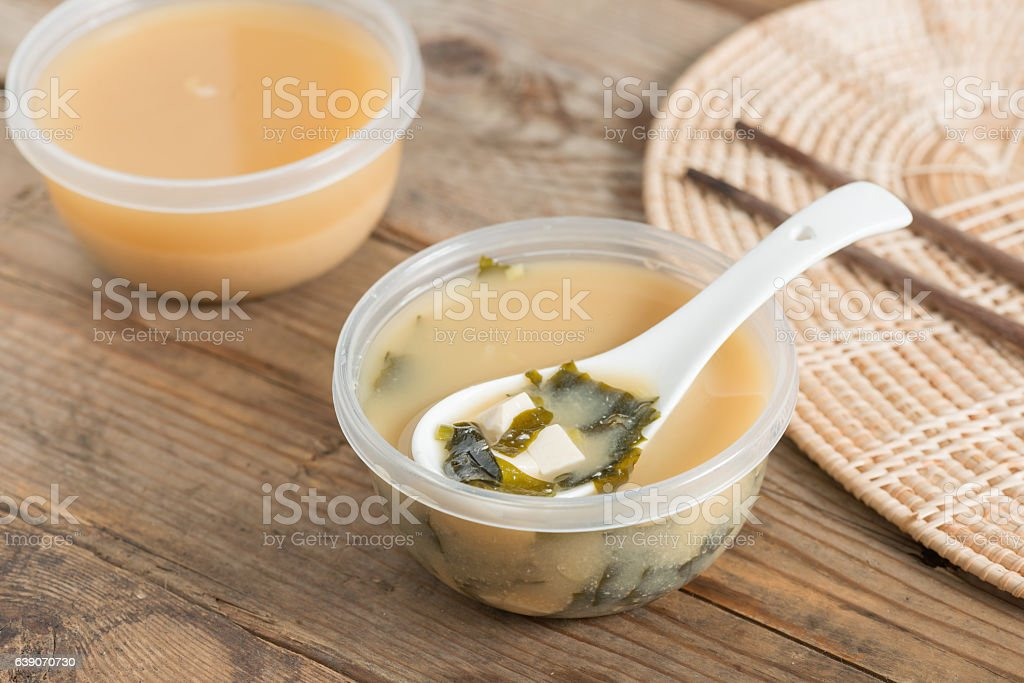 Miso soup on the table. stock photo