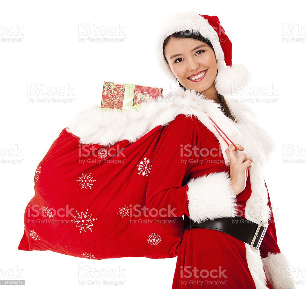 Miss Claus with a gift sack royalty-free stock photo