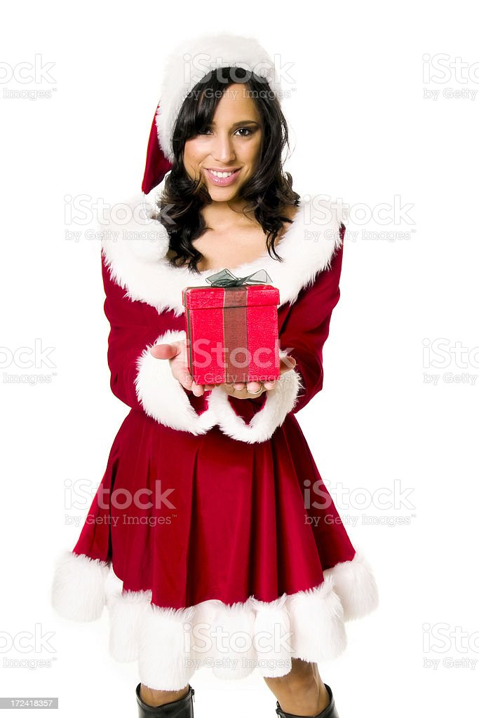 Miss Santa Presenting Gift royalty-free stock photo
