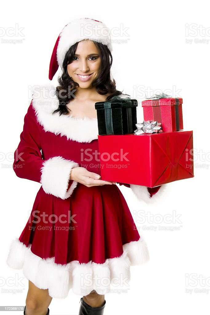 Miss Santa with Presents royalty-free stock photo