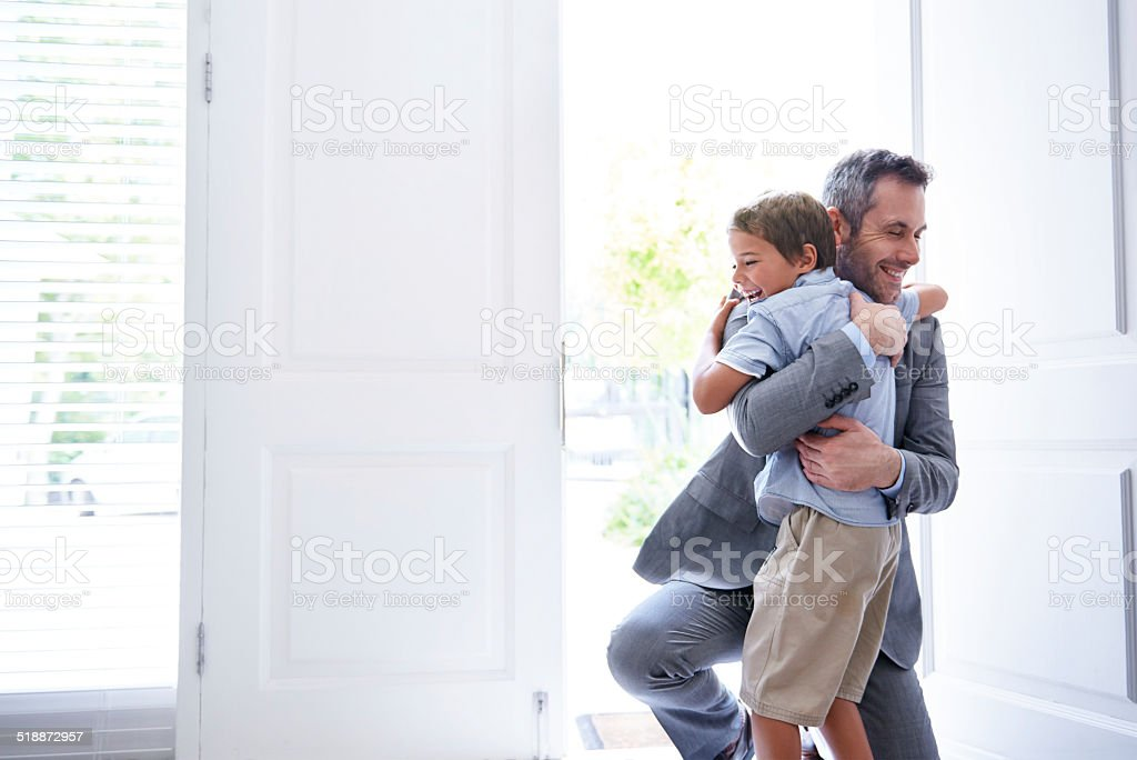 I missed you Dad! stock photo