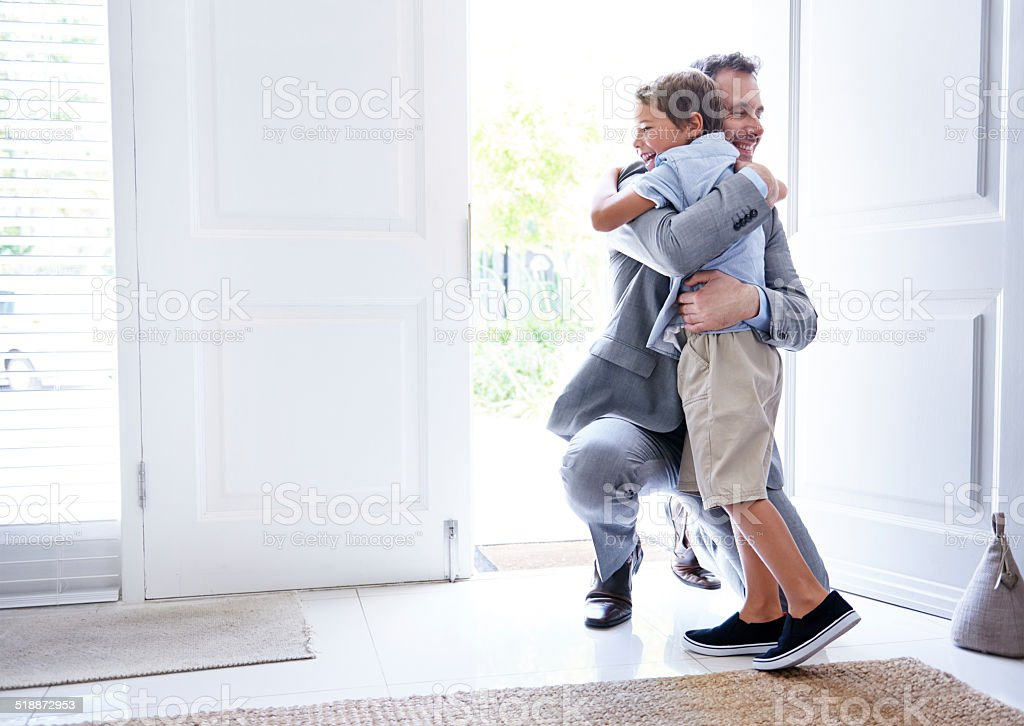 I missed you son! stock photo
