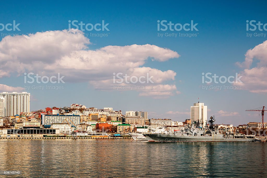 missile boat in the waters of Vladivostok stock photo