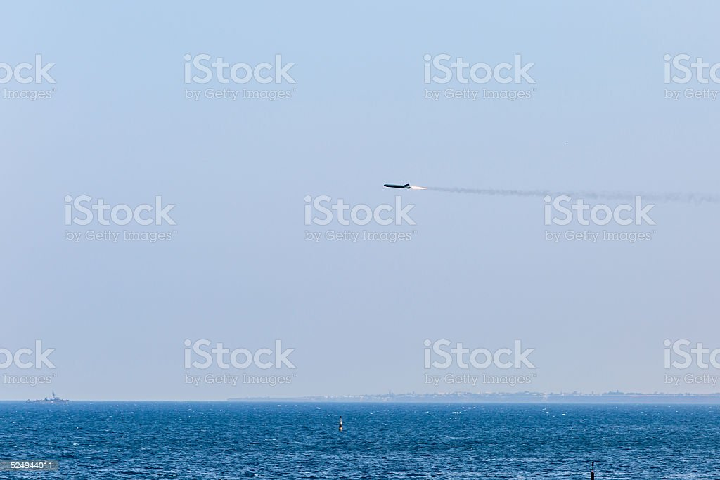 Missile flying in sky stock photo