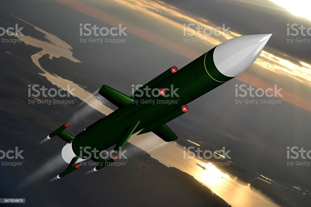 Missile flying in the air, attack, aggression stock photo