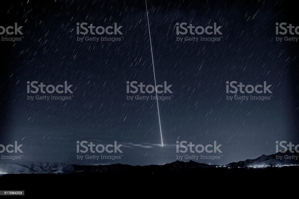 Missile Launch in Night Sky stock photo